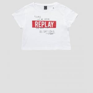 T-Shirt bianca con stampe rettangolo rosso, logo e scritte