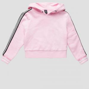 Felpa rosa con bande nere e bianche