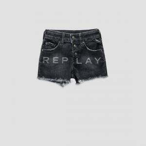Pantaloncino di jeans grigio con stampa logo