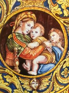 Piatto ornamentale ornato rosso in ceramica di caltagirone d37