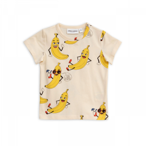 T-Shirt panna con stampe banane gialle