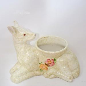 Porta Piante Cerbiatto In Ceramica