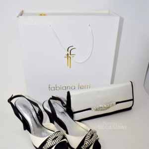 Scarpe Fabiana Ferry N. 36 Bianco Nero Con Pochette