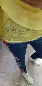 Blusa in chiffon e pizzo Sunflower Oroblù