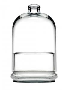 Scatola porta confetti con campana e piattino in vetro cl 55 cm.19,5h diam.11,2