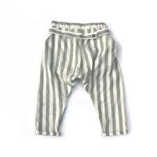 Pantalone a righe grigie e bianche con cinta