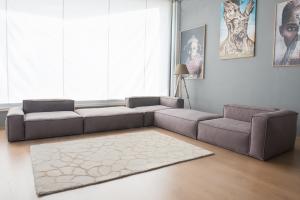 Divano isola modulare componibile in tessuto cotone misto lino sfoderabile - composto da 5 moduli da 2 posti l'uno – Design moderno - pronta consegna