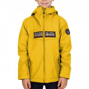 Giubbotto giallo con cappuccio e logo