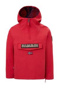 Giubbotto rosso con cappuccio e logo