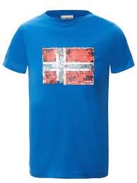 T-Shirt blu con stampa logo rosso e celeste