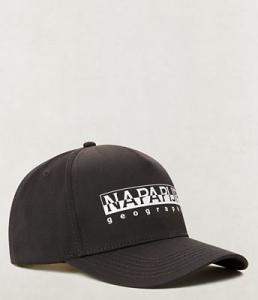 Cappello nero con stampa logo bianco