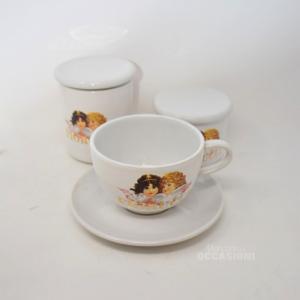 Tazza Con Piattino Fiorucci + 2 Vasetti Ceramica