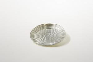 Piattino per dolci in vetro argento decorato a mano riflessi argento cm.1,5h diam.16