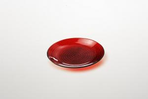 Piattino per dolci in vetro colore rosso riflessi dorati cm.1,5h diam.16