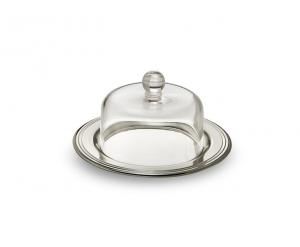 Piatto placcato argento con cupola in vetro cm.6h diam.11,3