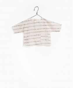 Camicia beige con stampa linee marroni