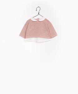 Maglioncino rosa con colletto e fondo bianchi