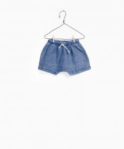 Pantaloncino blu con vita elasticizzata e laccio