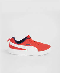 PUMA COURTFLEX PS WHITE-RED-PEACOAT 362650-19