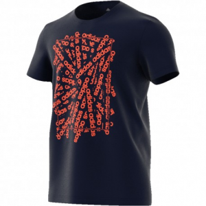 T SHIRT ADIDAS BLUE/ORANGE CON SCRITTE DV3048