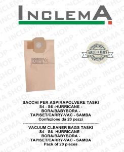 Sacchetti per aspirapolvere TASKI S4 - S6 - HURRICANE - BORA/BABYBORA -  TAPISET/CARRY-VAC - SAMBA - Confezione da 20 sacchetti