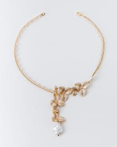 Collana in ottone galvanizzato e perle d'acqua dolce