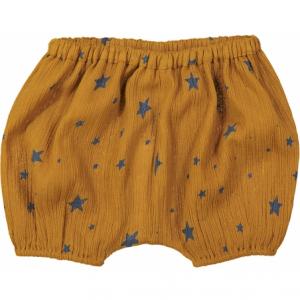 Pantaloncino sabbia con stampa stelle blu
