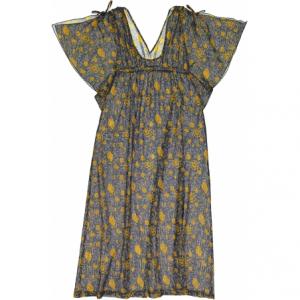 Vestito blu con stampa fiori oro