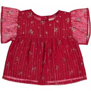 Blusa rossa con stampe linee e fiori