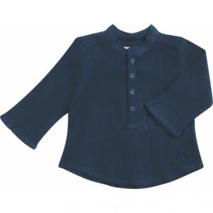Camicia blu a maniche lunghe