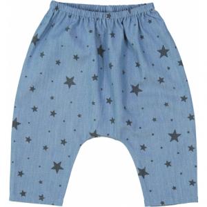 Pantalone blu con stampa stelle grigie