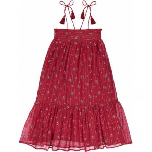 Vestito rosso con stampe linee e fiori