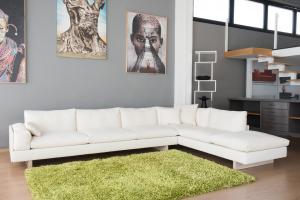 Divano angolare in tessuto 100% cotone naturale a 7 posti e piedini in legno – Design contemporaneo - pronta consegna