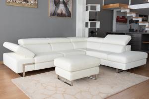 BENJY - Divano angolare in pelle bianca a 5 posti maggiorati con poggiatesta recliner manuali piedini cromati lucidi – Design moderno