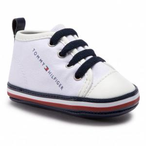 Scarpe bianche con stampa logo e lacci blu