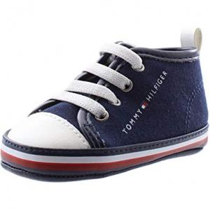 Scarpe blu con stampa logo e lacci bianchi