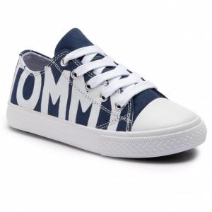 Scarpe blu con stampa scritta bianca
