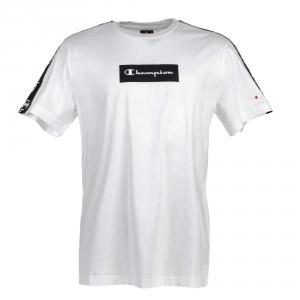 T-Shirt bianca con stampe loghi bianchi, rettangolo e bande nere