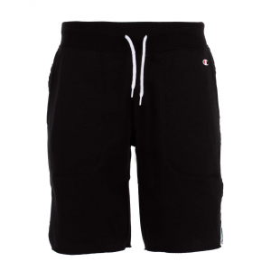 Pantaloncino di tuta nero con loghi neri e bande bianche