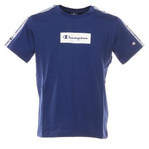 T-Shirt blu con stampe loghi, rettangolo e bande bianchi