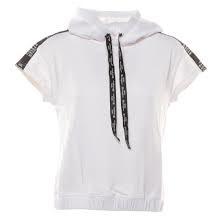 Felpa bianca con cappuccio, lacci e bande nere