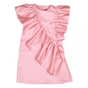 Vestito rosa smanicato e girocollo