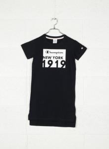 Vestito nero con stampe rettangolo bianco e scritte nere