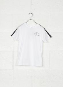 T-Shirt bianca con stampa logo e bande nere