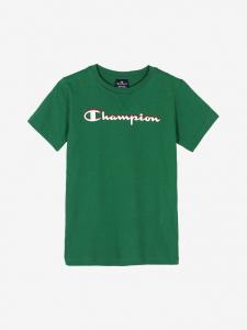 T-Shirt verde con stampa logo bianco, rosso e nero
