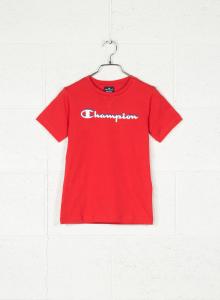 T-Shirt rossa con stampa logo bianco e blu