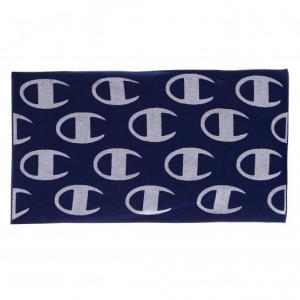 Asciugamano blu con stampa loghi grigi