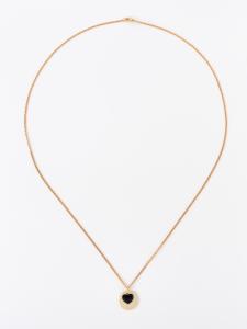 Collana lunga in ottone galvanizzato con piastra e cuore smaltato nero