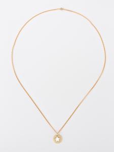 Collana lunga in ottone galvanizzato con piastra e stella smaltata di bianco