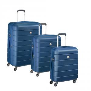 Delsey - Lagos - SET 3 pezzi valigia trolley da cabina, medio, grande 4 ruote TSA rigido blu cod. 3870986